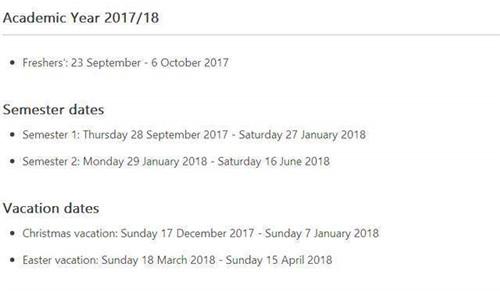 英国留学党注意啦:英国各大学18-19学年放假时间的校历来了!图19